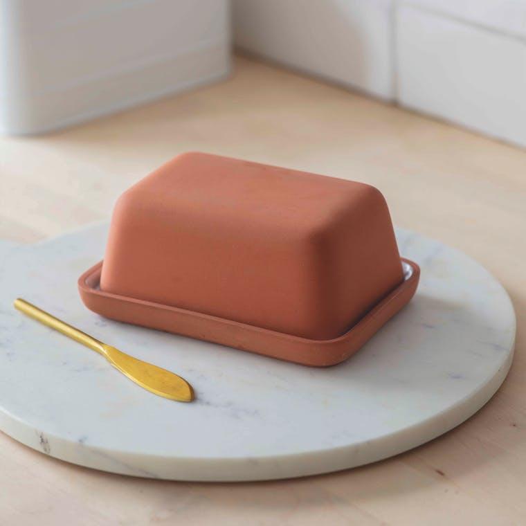 Red Stoneware Enstone Butter Dish | Garden Trading