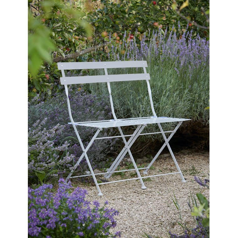 Garden Trading Folding Bistro Bench in Chalk - Steel