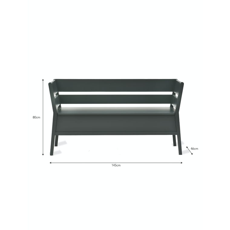 Wooden Modern Settle Bench in Black | Garden Trading
