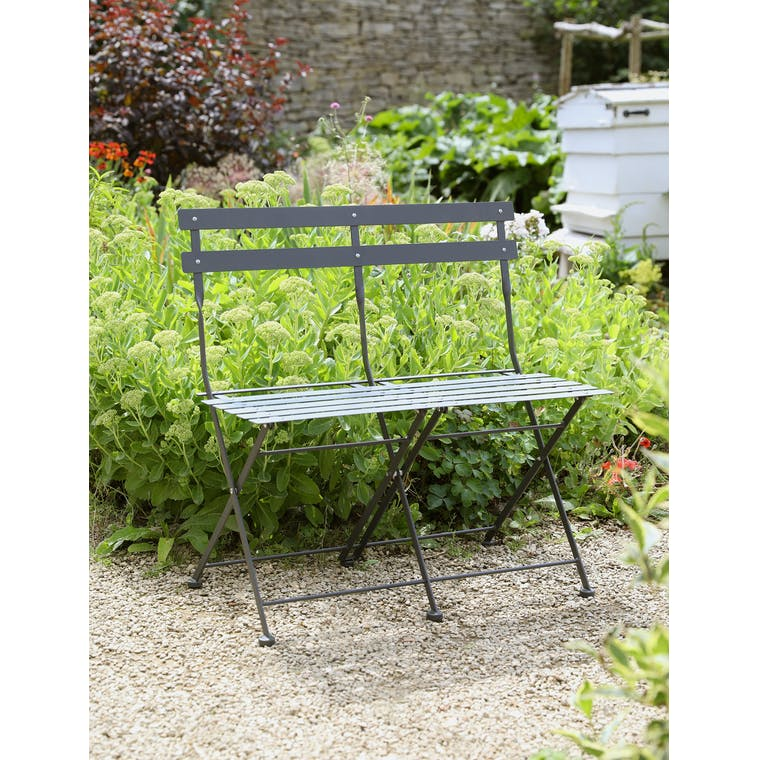 Folding Bistro Bench in Carbon by Garden Trading