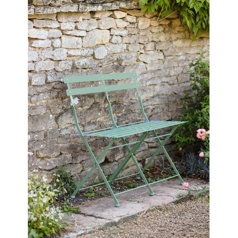 Garden Trading Folding Bistro Bench in Greengage -Steel