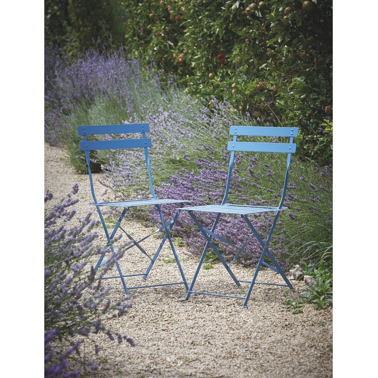 Garden Trading Set of 2 Bistro Chairs in Lulworth Blue
