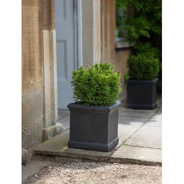 Fibre Clay Boxgrove Outdoor Planters in Black | Garden Trading