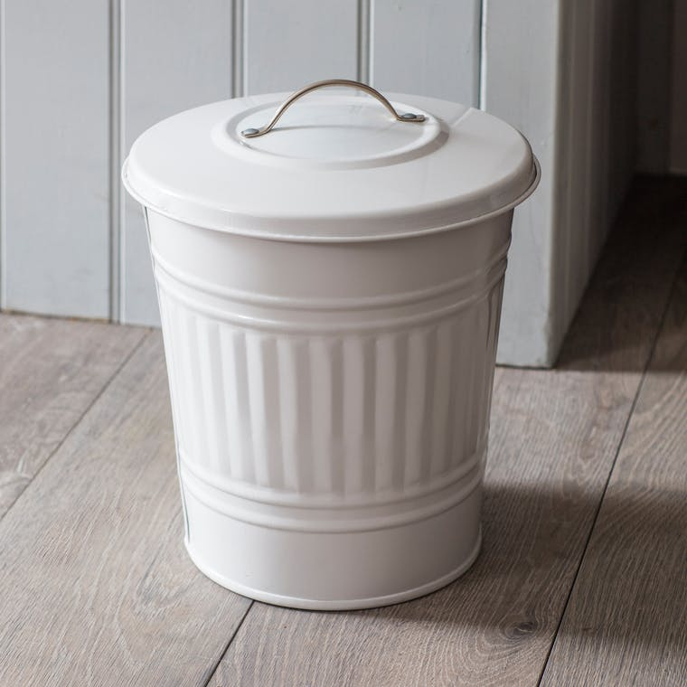 Steel Mini Bin in White | Garden Trading