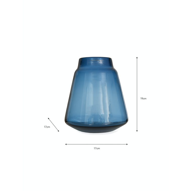 Blue Glass Stanway Vase in Small or Large | Garden Trading