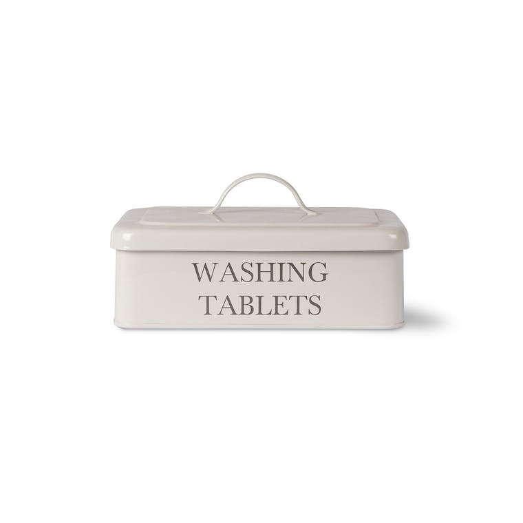 Steel Washing Tablet Box in White | Garden Trading