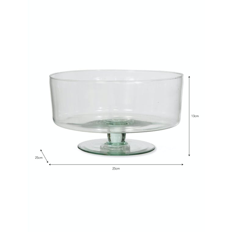 Recycled Glass Broadwell Bowl on Stand | Garden Trading