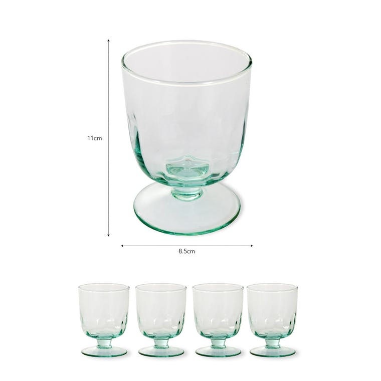 Recycled Glass Set of 4 Broadwell Wine Glasses   Garden Trading