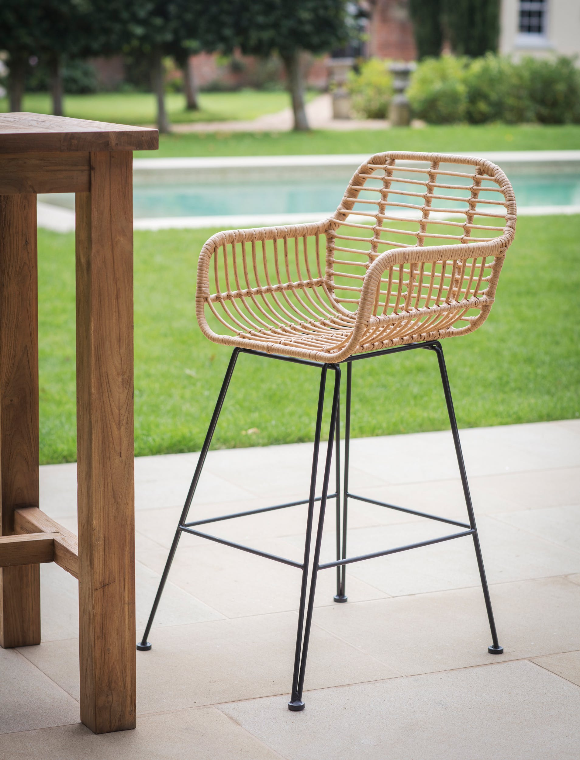 All-weather Bamboo Hampstead Bar Stool | Garden Trading