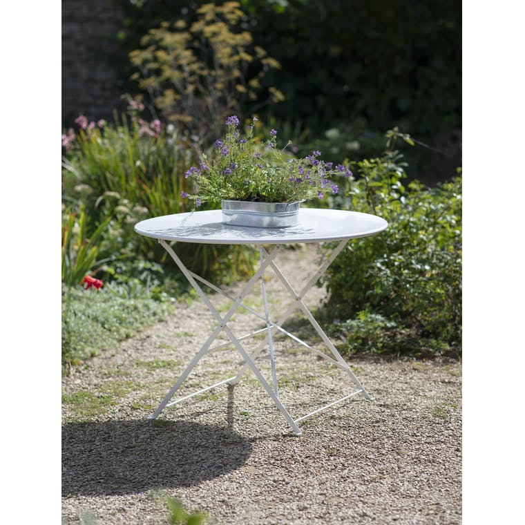 Garden Trading Rive Droite Bistro Table, Large in Chalk - Steel