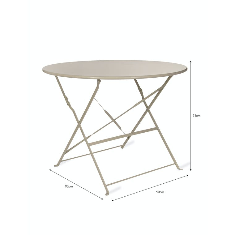 Steel Bistro Table in Cream, Black or White | Garden Trading