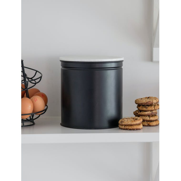Steel and Marble Brompton Biscuit Tin in Black   Garden Trading