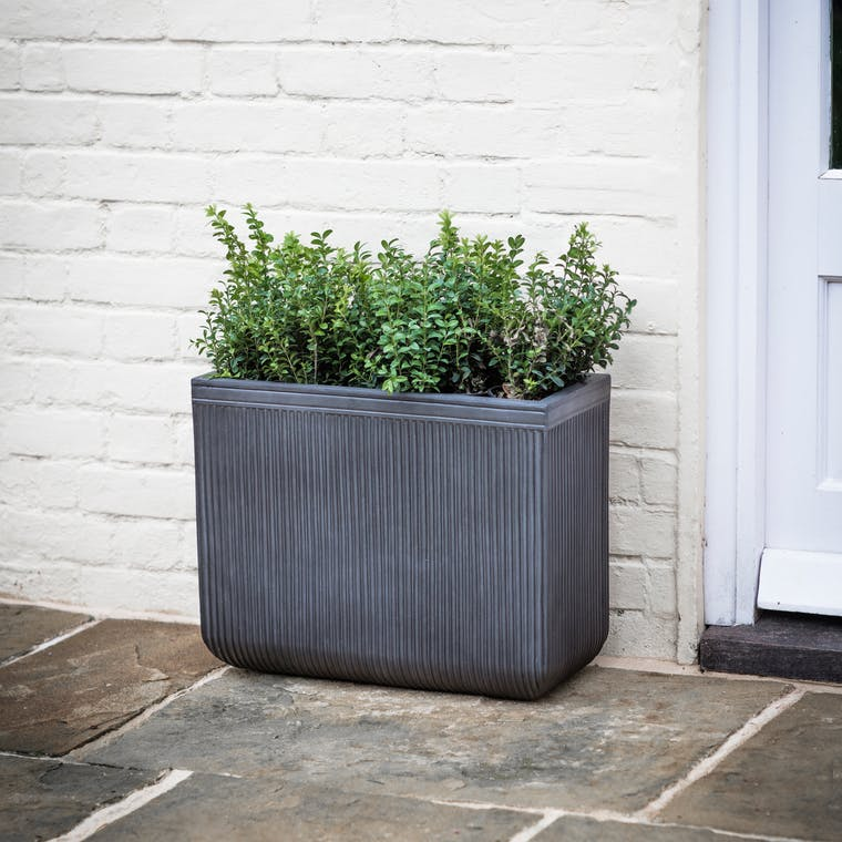 Fibre Clay Bathford Rectangular Outdoor Planter in Small or Large | Garden Trading