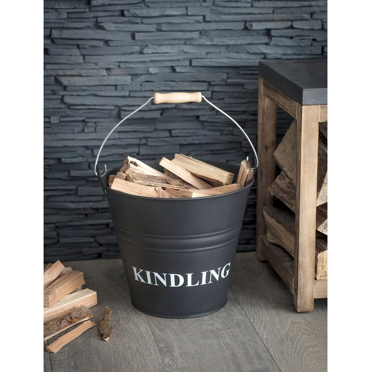 Steel Kindling Bucket in Black | Garden Trading