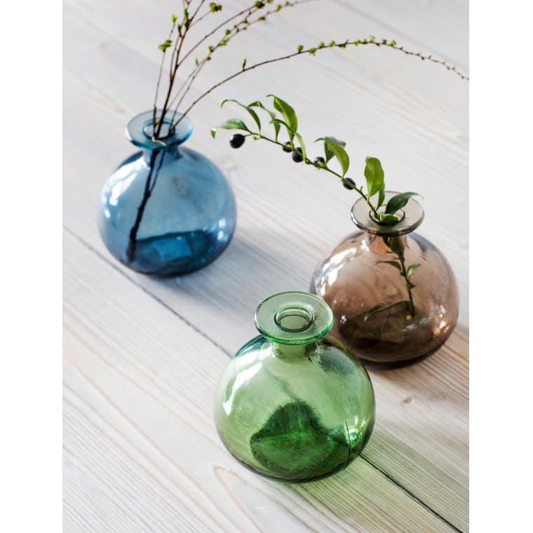 Recycled Glass Round Bud Vase in Blue, Green or Grey   Garden Trading