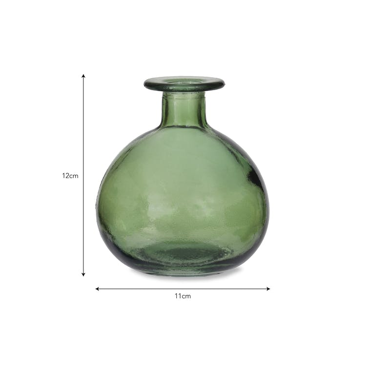 Recycled Glass Round Bud Vase in Blue, Green or Grey | Garden Trading