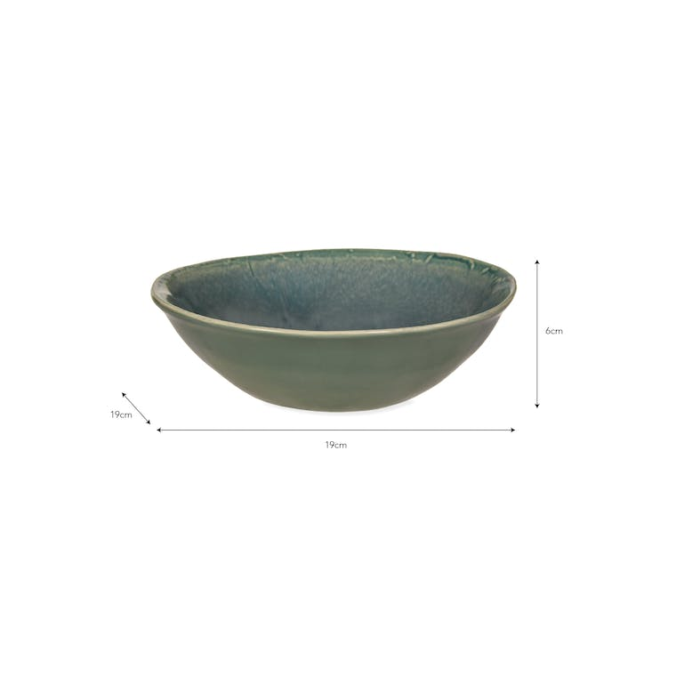 Ceramic Winderton Bowl in Green or Blue | Garden Trading