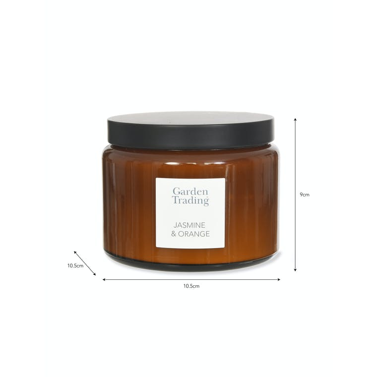 Jasmine & Orange Glass Candle in Small or Large  | Garden Trading