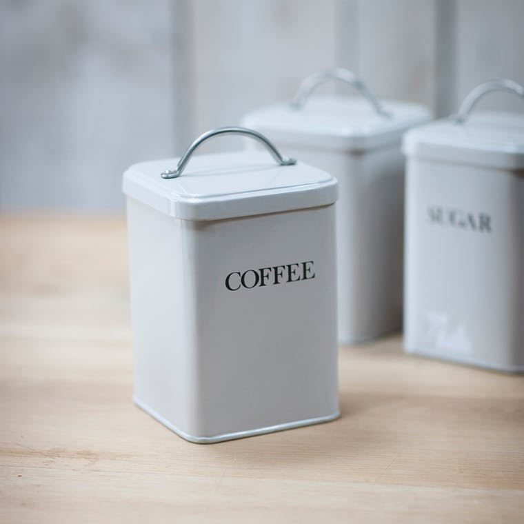Steel Coffee Canister in Grey or White | Garden Trading