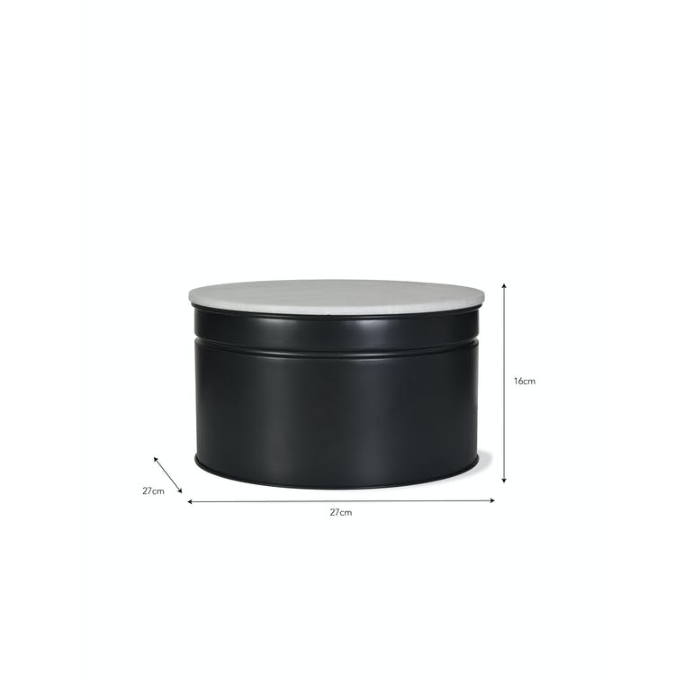 Steel and Marble Brompton Cake Tin in Black in 8 or 10 inch   Garden Trading