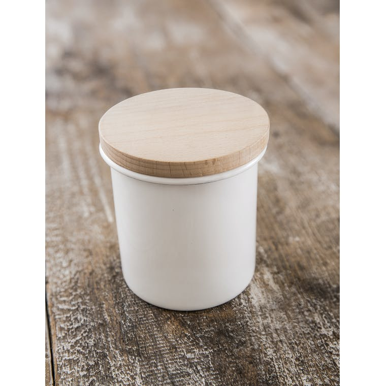 Enamel Kitchen Canister in White with Wooden Lid | Garden Trading