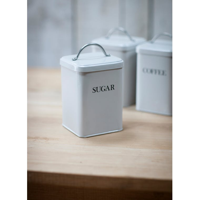 Steel Sugar Canister in Grey or White | Garden Trading