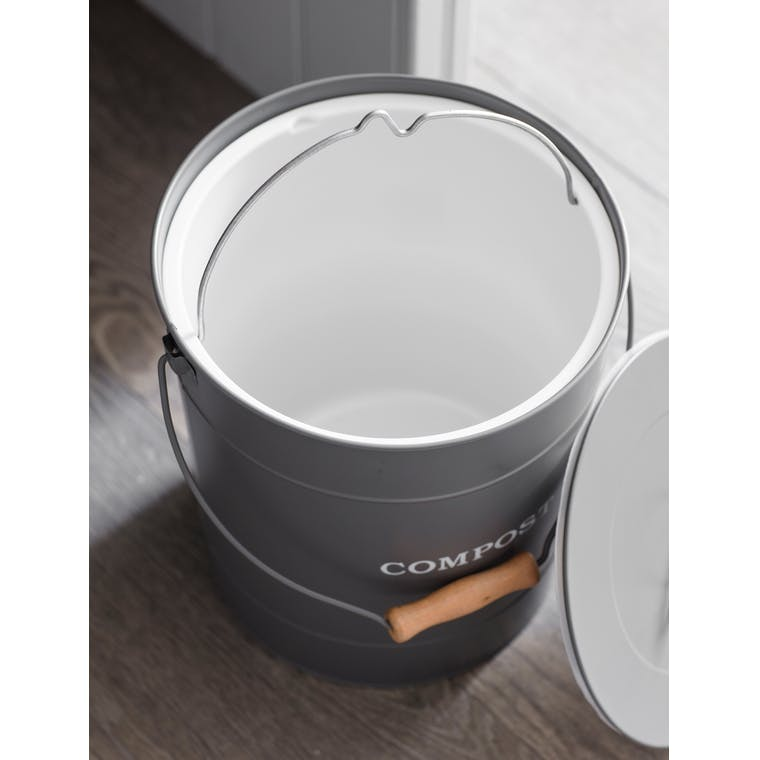 Steel 10L Compost Bucket in Grey | Garden Trading