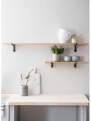 Oak & Cast Iron Shelf