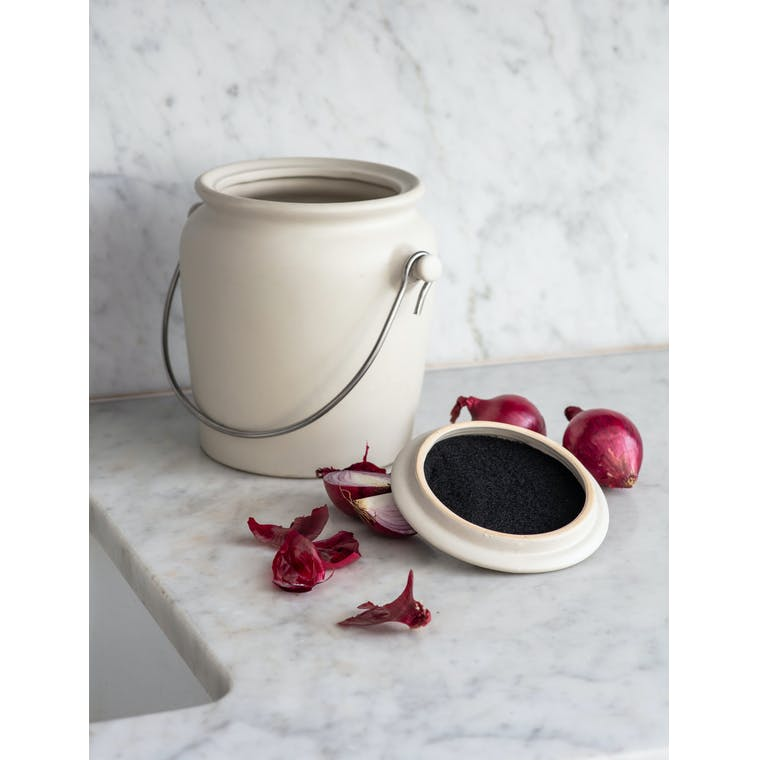 Ceramic Compost Crock in White | Garden Trading