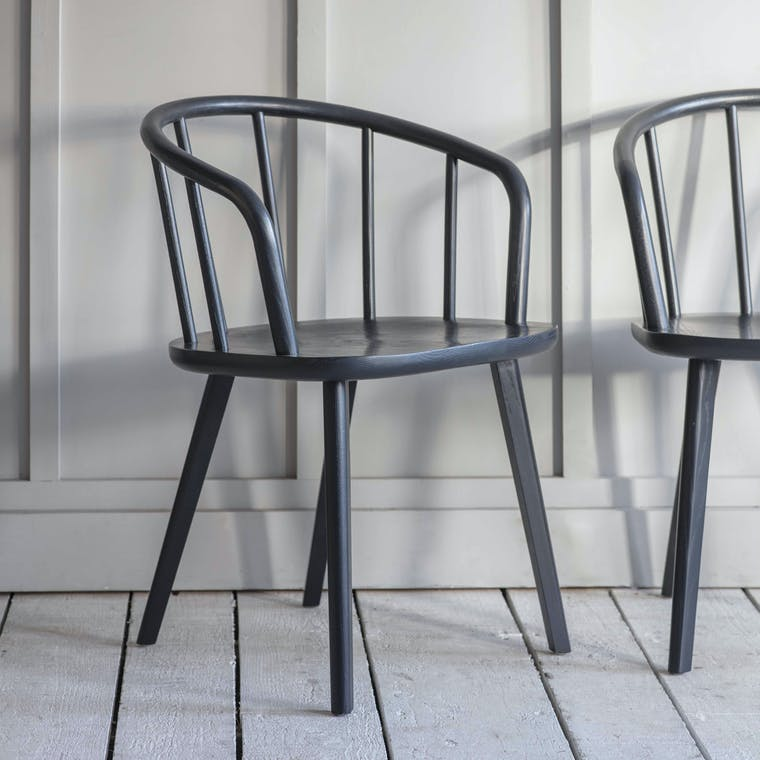 Wooden Pair of Carver Chairs in Natural or Black | Garden Trading