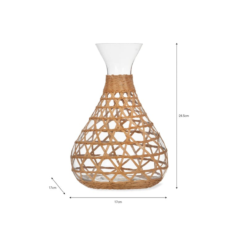 Glass Portmore Carafe with Ink or Natural Rattan | Garden Trading