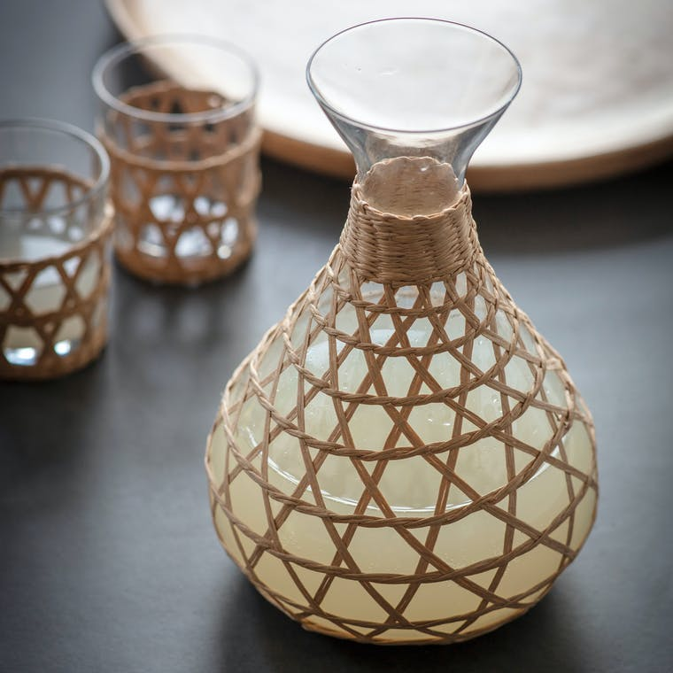 Glass Portmore Carafe with Ink or Natural Rattan   Garden Trading