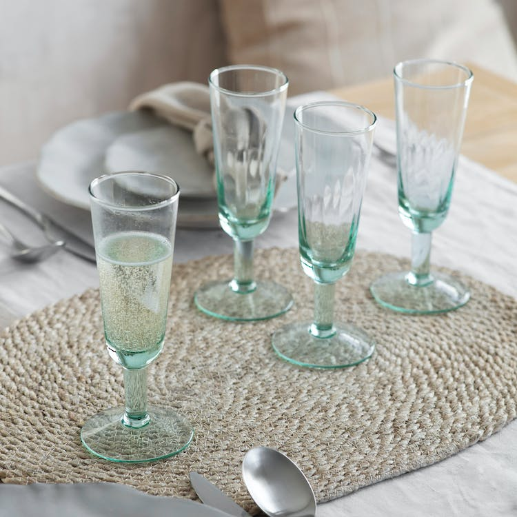 Recycled Glass Set Of 4 Broadwell Champagne Flutes Garden Trading