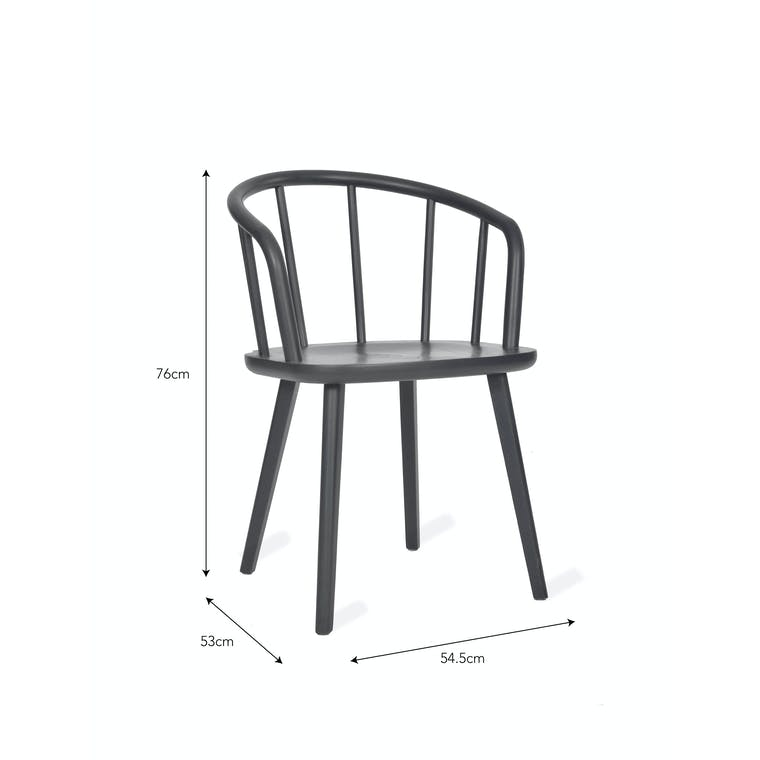 Grey Set of 2 Carver Chairs in Ash | Garden Trading