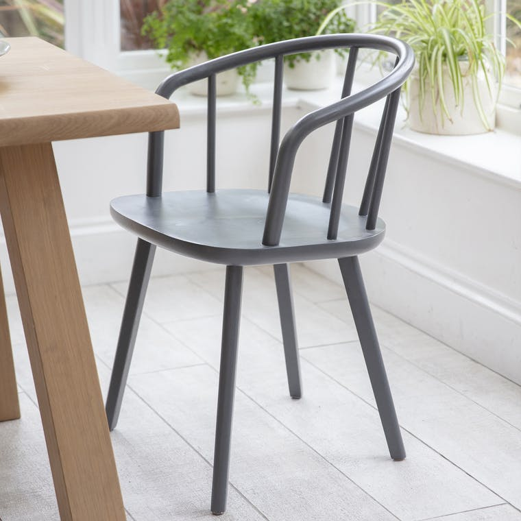 Grey Set of 2 Carver Chairs in Ash   Garden Trading