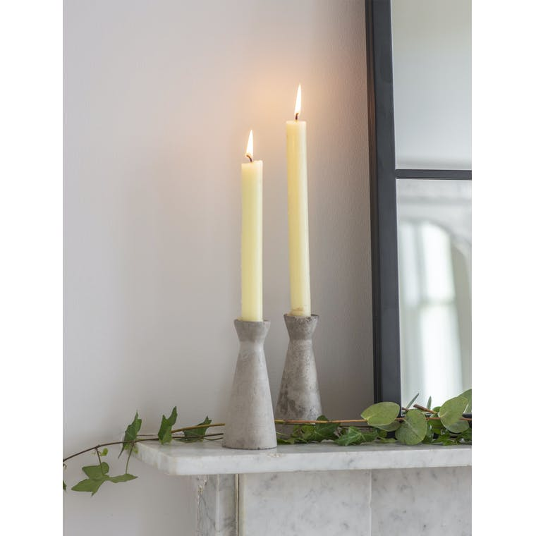 Garden Trading Set of 2 Tall Cement Candle Holders