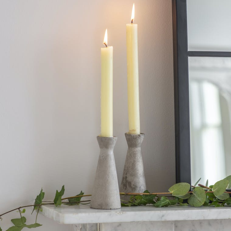 Cement Set of 2 Candle Holders Tall in Grey | Garden Trading