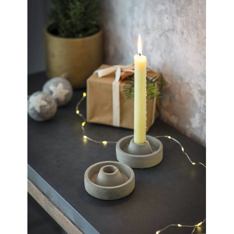 Garden Trading Set of 2 Short Cement Candle Holders