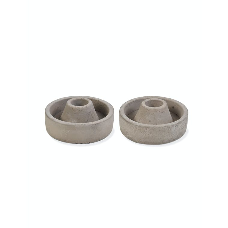 Cement Set of 2 Candle Holders Short in Grey | Garden Trading