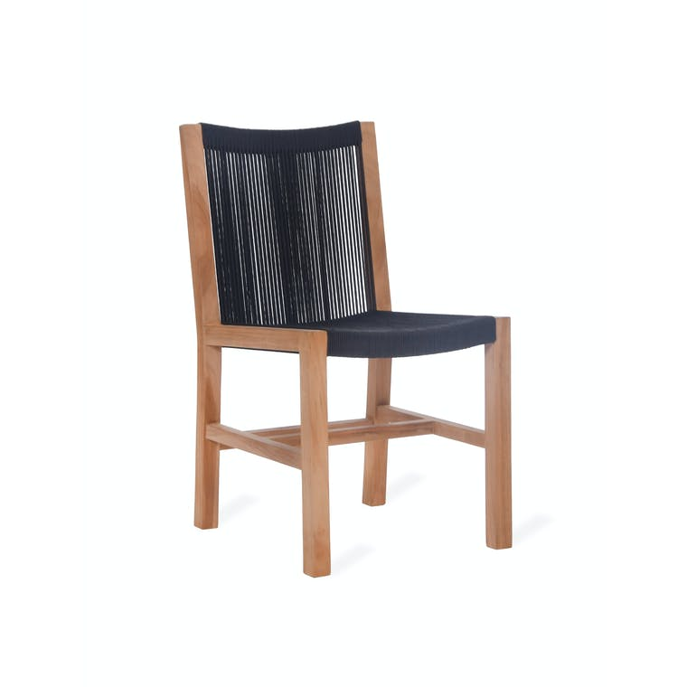 Teak and Polyrope Pair of Mylor Dining Chairs   Garden Trading