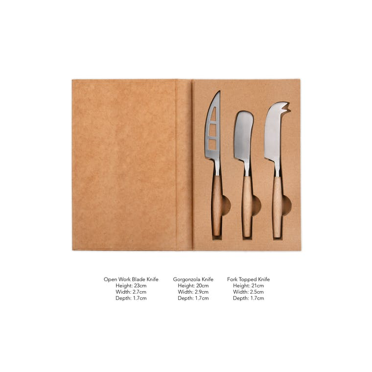 Steel & Wooden Set of 3 Cheese Knives | Garden Trading