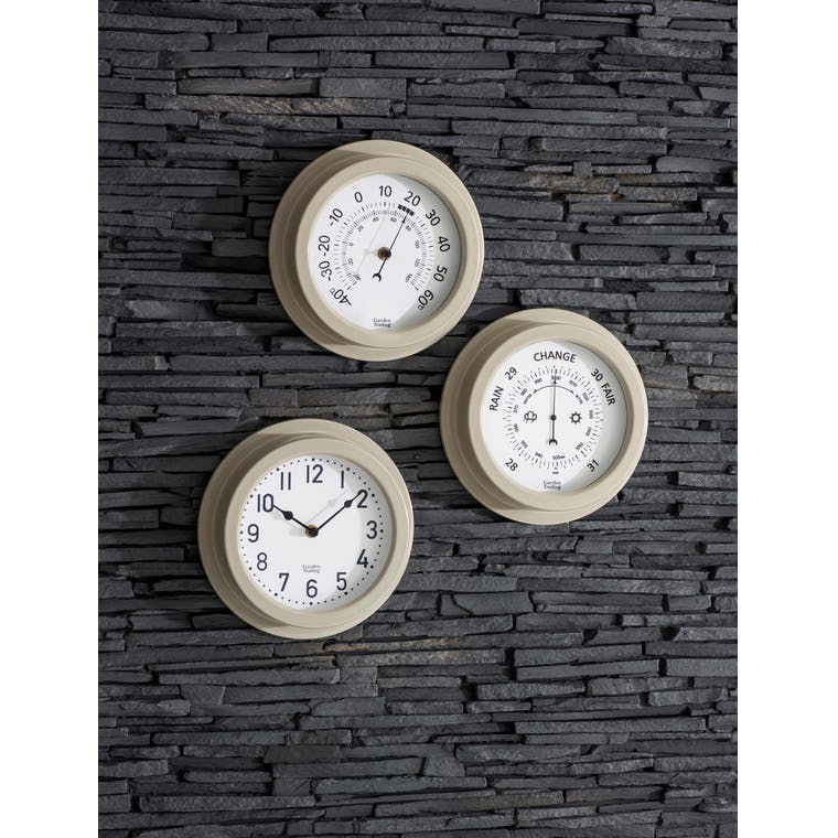 Tenby Outdoor Clock, 8 Inch in Cream | Garden Trading