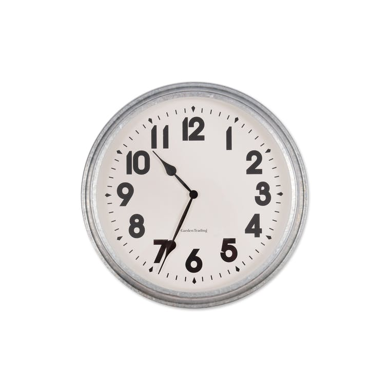 Galvanised Indoor and Outdoor Large Wall Clock | Garden Trading
