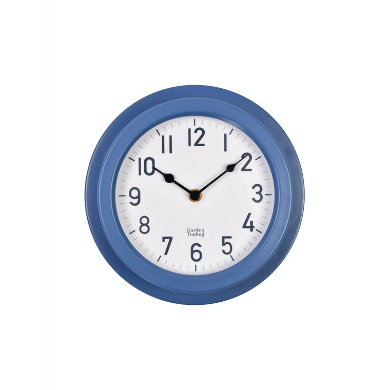 Steel Tenby Clock in Black, White or Blue | Garden Trading
