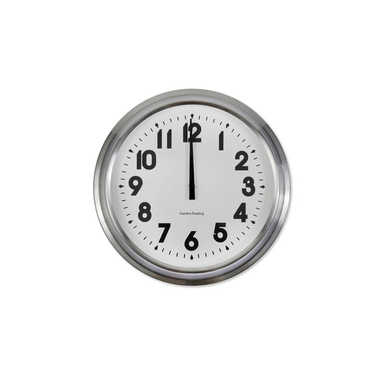 Stainless Steel Indoor Islington Clock in Small or Large  | Garden Trading