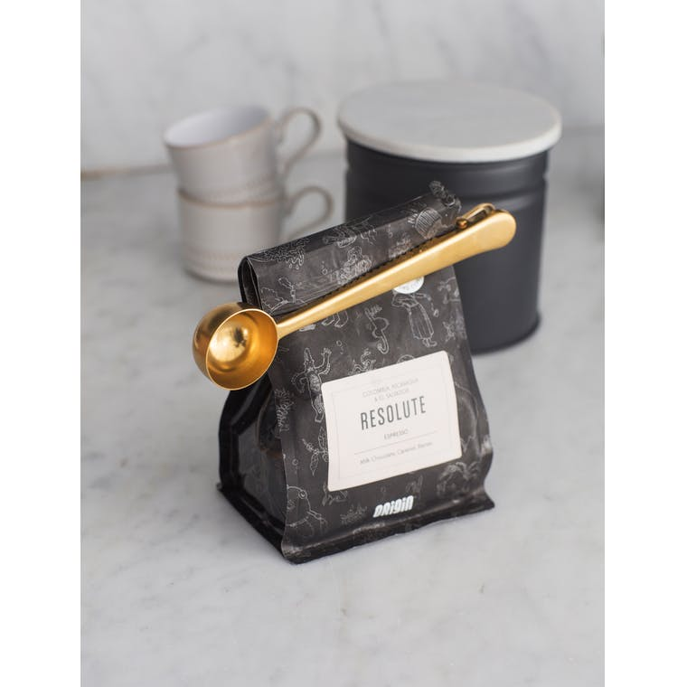 Brass Brompton Coffee Scoop with Clip | Garden Trading