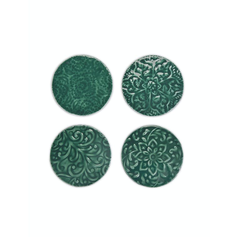 Aluminium Set of 4 Fiskardo Coasters in Blue or Green | Garden Trading