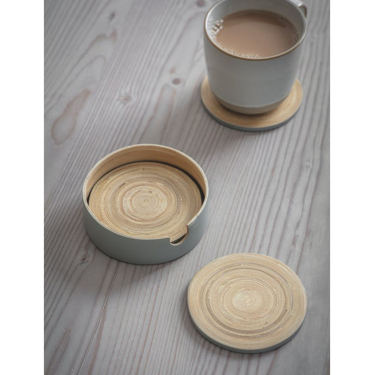 Bamboo Set of 4 Purbeck Coasters in Blue or Grey | Garden Trading