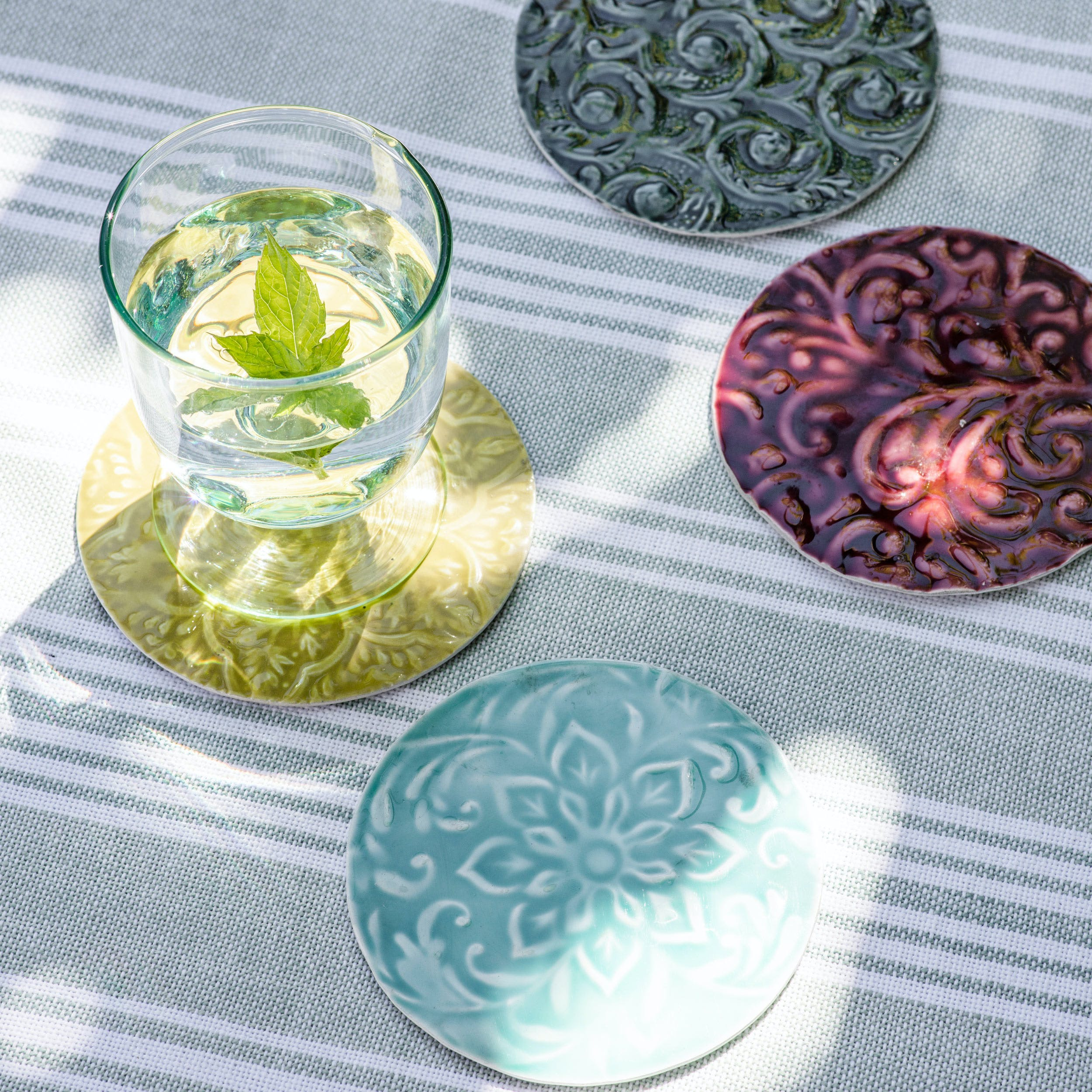Aluminium Set of 4 Fiskardo Coasters in Green, Blue and Brown | Garden Trading