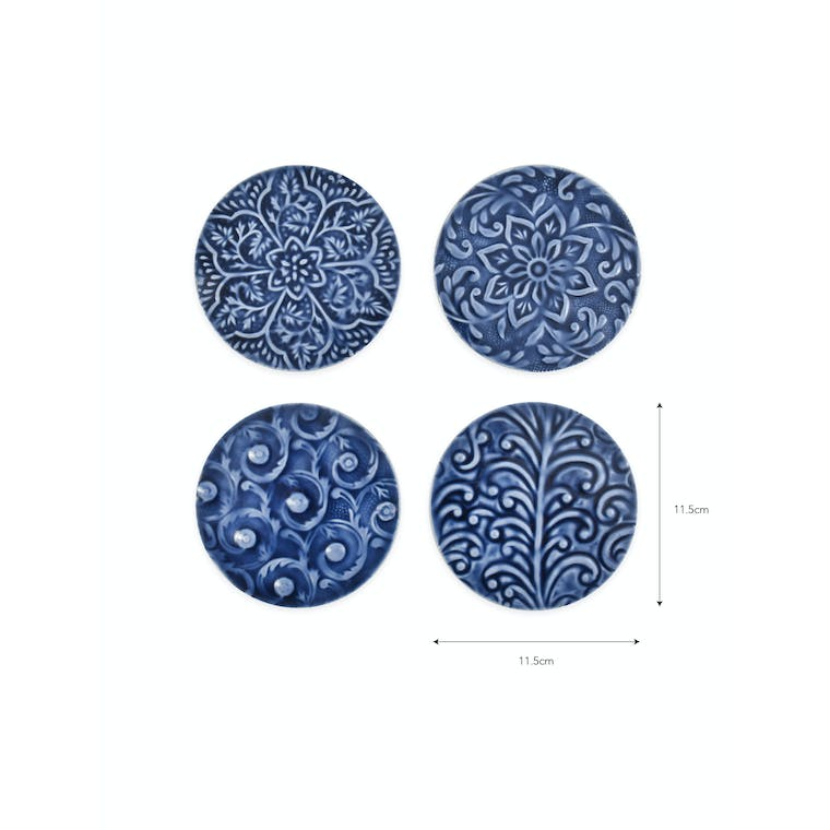 Aluminium Set of 4 Fiskardo Coasters in Multi-coloured or Blue | Garden Trading